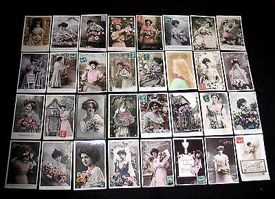 Lot C81 : 32 Cpa Fantaisie Femme Miss Pin-Up Glamour Mode Belle Epoque Fashion