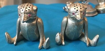 RARE 1909  Matched Set TEDDY BEAR Shakers Salt / Pepper / Pepperette HALLMARKED