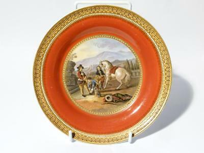 Antique Victorian Preparing for the Ride (282) Red Prattware Side Plate