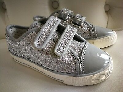 M&S grey sparkly glitter velcro shoes trainers in size UK infant 9, eur 27 NEW