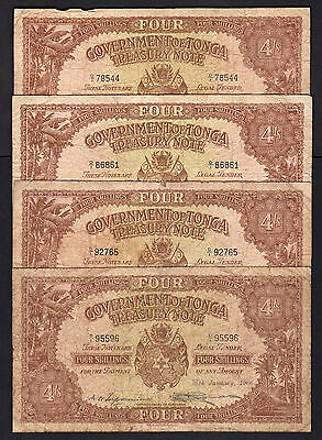 TONGA P-9d.  4 Shillings (1965-66)  Various dates (all diff) x 4 Notes.. aVG-F