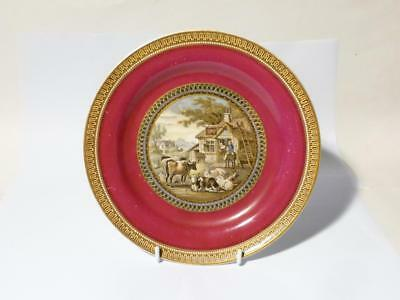 Antique Victorian Red Bull Inn (283) Burgundy Prattware Dinner Plate lid scene