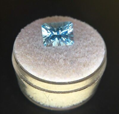 NATURAL 2.95ct Loose Blue Topaz Emerald Concave Cut TOP GRADE Gem 9x7mm