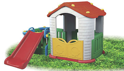 New Kids 3 In 1 Cubby House With Play Yard And Plastic Slide Indoor Outdoor 803