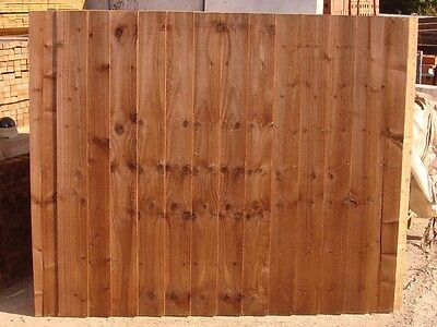 New: Feather Edge 6 X 6 Brown Stain Fully Framed Fence Panels  £20 Each