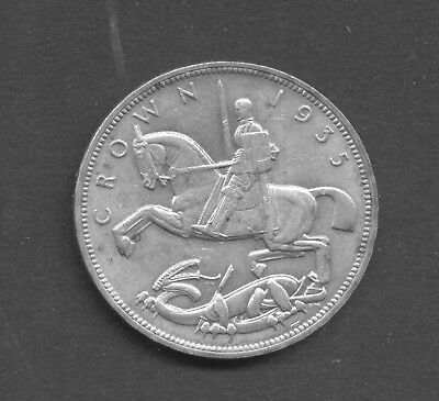 GREAT BRITAIN , GEORGE V , pre 1947 SILVER , 1935 CROWN