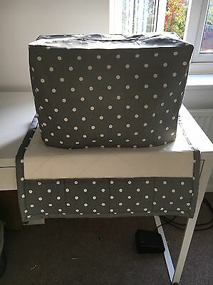 ❤️Clarke & Clarke ❤️Grey/White Spotty Shabby Chic  Sewing Machine Dust Cover