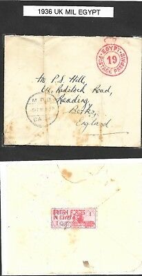 Military Postal History 1936 British Forces in Egypt: 1p Letter Stamp/Seal.