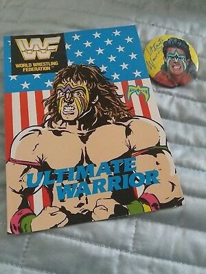 Vintage 1991 (Used)ULTIMATE WARRIOR Birhday Card & Badge