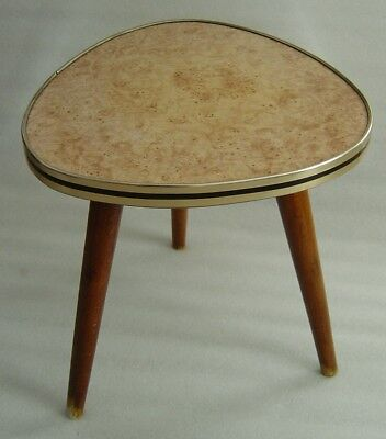 Atomic Age salmonred marbled formica covered tripod plant stand display table