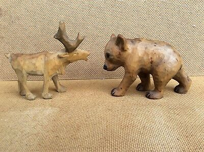 Collectable Well Carved Wooden Bear & Raindeer