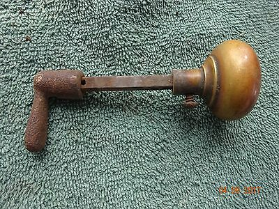 Small  VINTAGE Metal  DOOR HANDLE & KNOB with Iron Shafts UNRESTORED