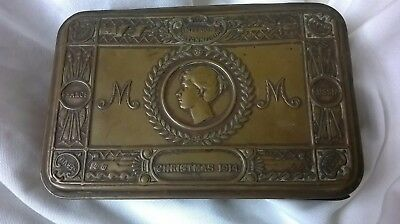 Ww1 Princess Mary 1914 Christmas Gift Brass Tin Fund Empty