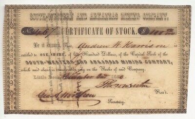 South-Western and Arkansas Mining Company Stock Certificate 12/02/1850 - VINTAGE