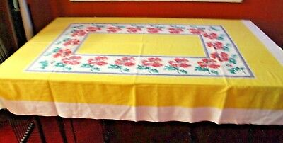 "VINTAGE 50s TABLECLOTH YELLOW TEAL GREEN PLUM TOMATO RED 64x50"" EXCELLENT"