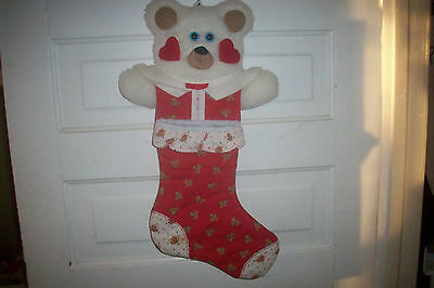 Vintage Homemade? Bear Christmas Stocking Quilted & Soft Head 22 in