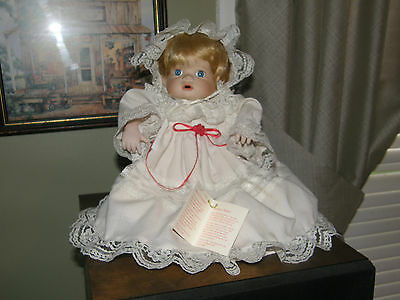 SEARS 1993 Porcelain /soft body Collectible Christmas Doll Sitting Very Pretty
