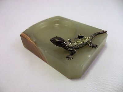 Vintage Austrian Cold Painted Bronze Lizard Onyx Ashtray