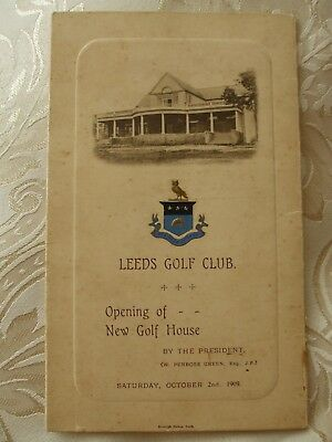 Programme from opening of new golf house LEEDS GOLF CLUB 2nd October 1909