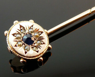 c1890, ANTIQUE 19thC VICTORIAN 9CT GOLD SAPPHIRE & PEARL STICK PIN BROOCH