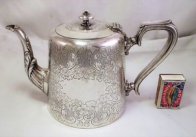 Large Ornate Victorian Silver Plated Tea Pot - Potter Sheffield - Good Condition