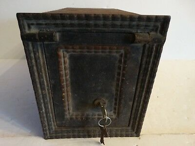 Antique Victorian cast iron wall safe w/key