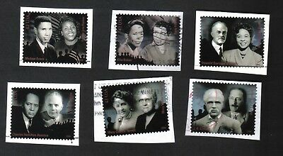 #4384 a-f, Civil Rights Pioneers, Used Set of 6, 42 cent, On Paper