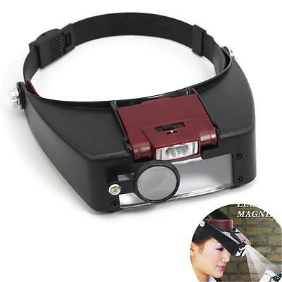 New Headband Headset LED Head Lamp Jeweler Magnifier Magnifying Glass Loupe T•