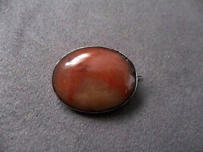 Antique Victorian Scottish Silver Oval Agate Brooch
