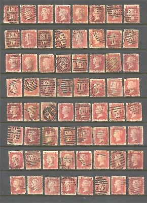 GREAT BRITAIN , VICTORIA , 1d red PLATES X 64 , used , all have faults ,unsorted