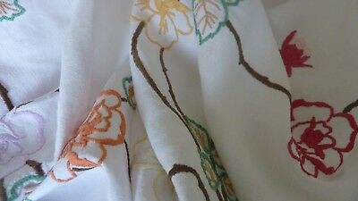 """LARGE VINTAGE HAND EMBROIDERED LINEN TABLECLOTH - WILD ROSES 64"""" x 49"""""""