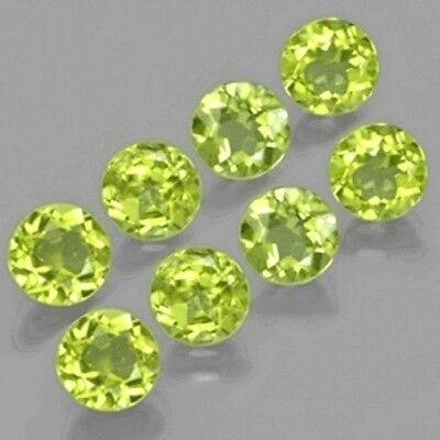 8 Pcs LOT OF 3.5mm ROUND FACET NATURAL EARTH MINED PERIDOT GEMSTONE