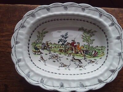"""Oval Serving Dish, """"Liverpool Hunt"""" by Booths, A8090, Stamped 315"""