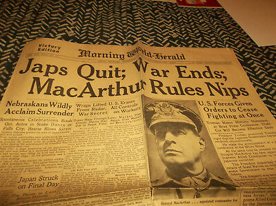Vtg 1945 WW II Omaha Morning World Herald Newspaper with GR8 War Ends Headline