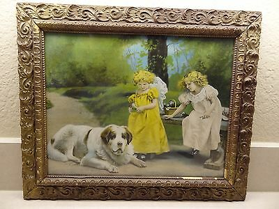 Vintage framed photo print Girls St. Bernard Great Pyrenees 1907 Hallen Weiner