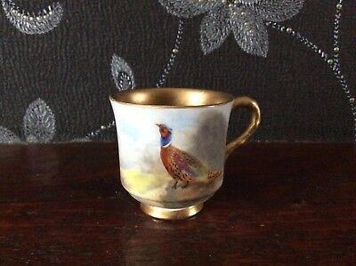 Royal Worcester Small  Cup .Painted with Pheasants and signed Jas Stinton