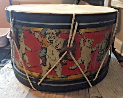 AMAZING c 1907 DRUM - Teddy Roosevelt and Teddy Bears.   RARE!!