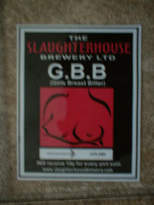 Slaughterhouse Brewery G.b.b. Laminate Beer Pump Clip Front Only