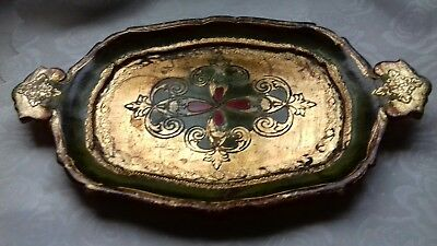 Vintage Small  Italian Florentine Gold & Green Papier Mache Tray