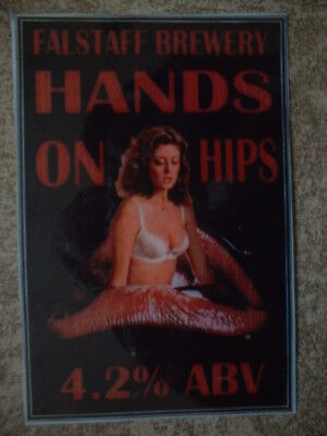 Falstaff Brewery. Hands On Hips. Laminate Beer Pump Clip Front Only