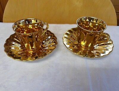 Wade Pair Of Gold Lustre Coffee Cups And Saucers