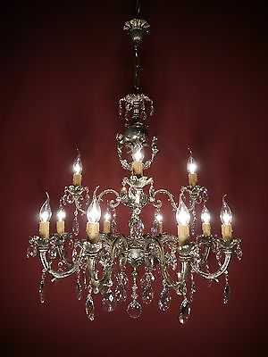 Cherubs 12 Light Brass/nickel Crystal Chandelier Glass Vintage Lamp