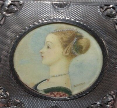 Antique Silver Ladies Compact - Miniature Portrait Painting Of A Lady - Signed