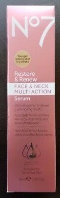 Boots No 7 Restore And Renew Face And Neck Multi Action Serum-New/boxed