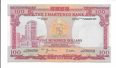 Hong Kong, The Chartered Bank - $100, 1977. AU - UNC.