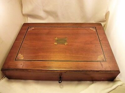Large Victorian Satinwood Cutlery Box/pistol Box - Inlaid Decoration