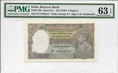 India, Reserve Bank - 5 Rupees, nd (1943). PMG 63EPQ.