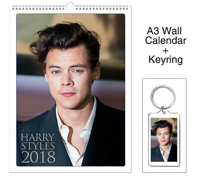 Harry Styles One Direction ID 2018 Wall Holiday Calendar + Keyring