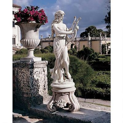 Musical Magical Muse Playing Harp Estate Size Garden Sculpture Statue NEW