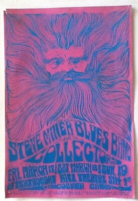 STEVE MILLER BAND CONCERT POSTER VANCOUVER BOB MASSE  1967 The Collectors etc